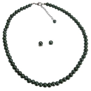 Best Selection Wholesale Prices Dark Green Pearls Jewelry Set