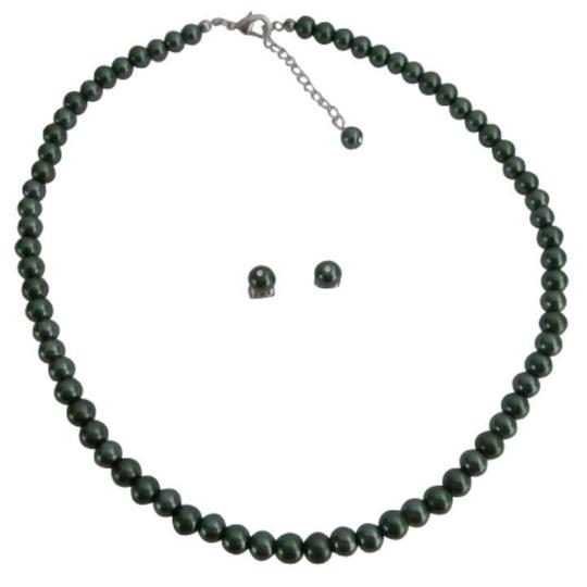 Dark Green Best Selection Wholesale Prices Pearls Jewelry Set