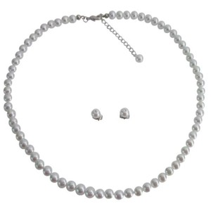 Junior Bridesmaid Jewelry Sleek Gorgeous White Pearls Jewelry Set