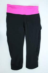 Lululemon Lululemon Run Crop Capri Pink Black Ruffle Leggings