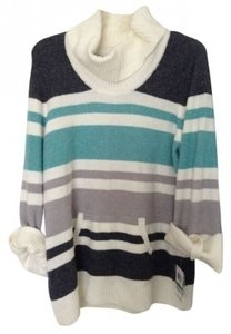 Style & Co Aqua White Turtle Neck Sweater