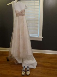 David's Bridal Multi (Listed As Soft White/Pink Print) Organza Strapless A-line Gown Feminine Wedding Dress Size 0 (XS)