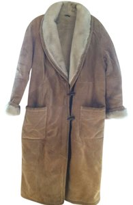 Wilsons Leather Full Length Shearling Suede Trench Coat