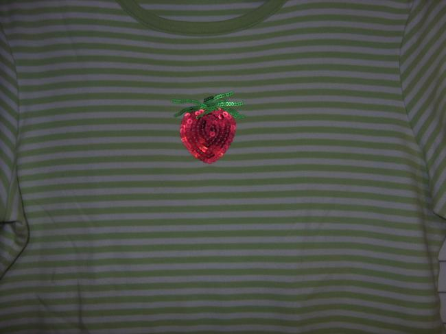 Coral Bay T Shirt LIME GREEN AND WHITE STRIPES