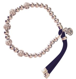 Michael Kors Silver-Tone Pave' Ball Stretch Bracelet