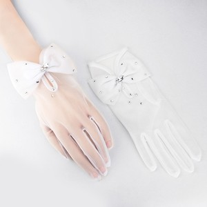 Elegant White Bow Crystal Accent Bridal Wedding Cotillion Wrist Length Gloves