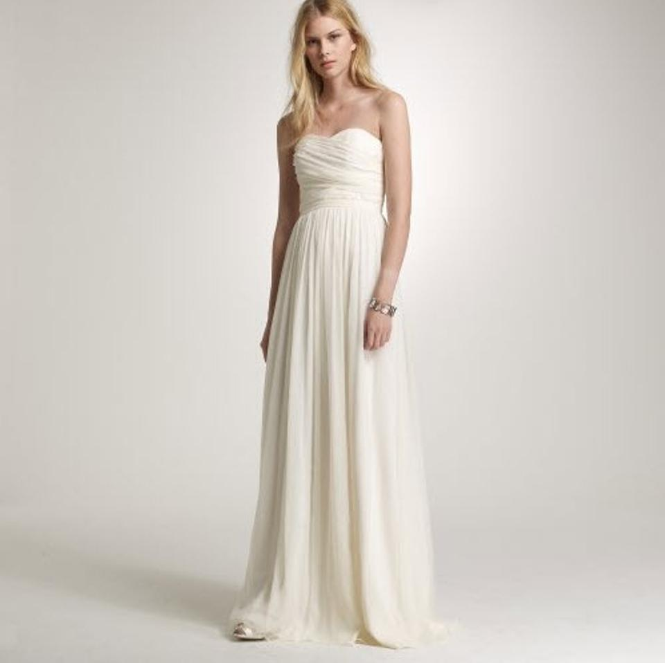 J.Crew Ivory Silk Chiffon Arabelle Vintage Wedding Dress Size 14 (L ...