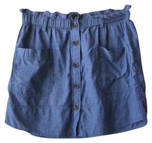 Aerie Chambray High Waist Mini Skirt blue