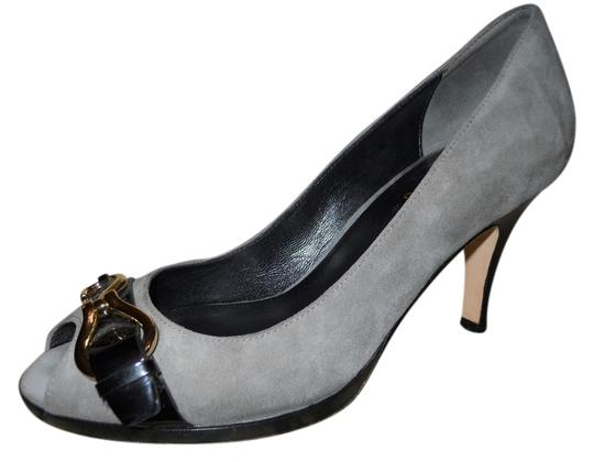 Cole Haan Leather Suede Patent Leather grey & black Pumps