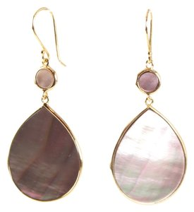 Ippolita IPPOLITA 18K YELLOW GOLD POLISHED BROWN SHELL ROCK CANDY DROP EARRINGS