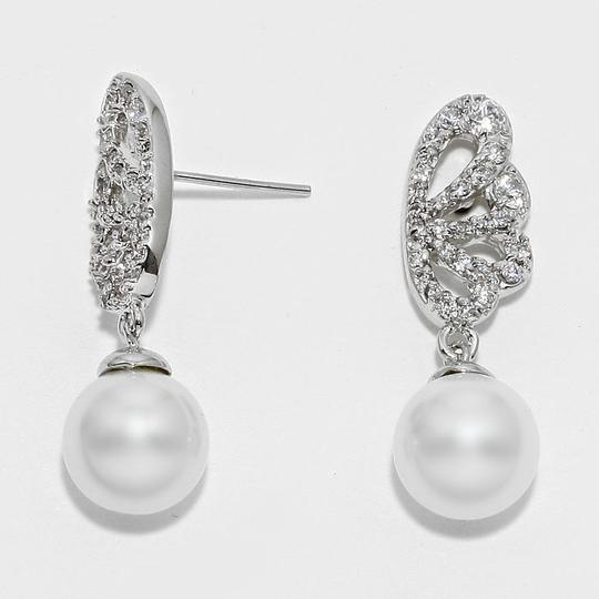 White Pearl Silver/Rhodium New Crystal Accent and Drop Earrings
