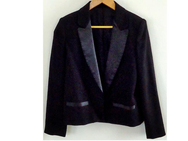Carole Little Tuxedo Satin Trim black Blazer