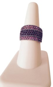Embellished by Leecia Pink Sapphires & Garnet Band Ring, Size 7