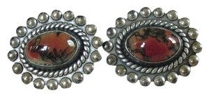 Other Lovely Vintage Pair of STERLING SILVER Screw back Agate Earrings
