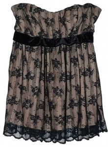 Boston Proper Top Black lace over nude