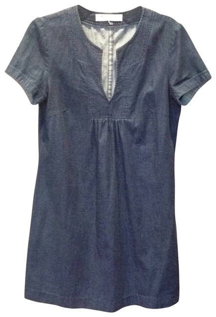 Trina Turk short dress Indigo denim Split Neck Short Sleeve on Tradesy