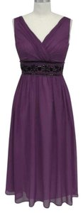 Purple Chiffon Goddess Beaded Waist Formal Dress Size 16 (XL, Plus 0x)