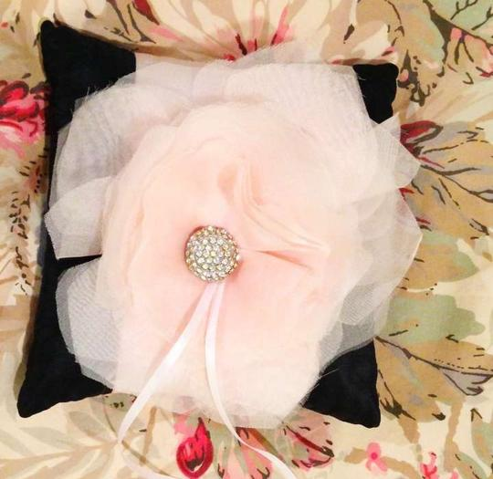 Black with Light Pink Ribbon And Silk Ring Bearer Pillow