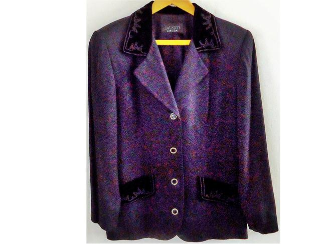 Laundry by Shelli Segal Velvet Embroidered black Blazer Image 1