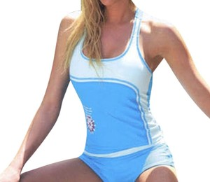 Light Blue or Blue/Green racerback tankini rash guard with boyshort set for XS