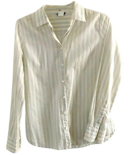 J.Crew Cotton Fitted Button Down Shirt white-blue
