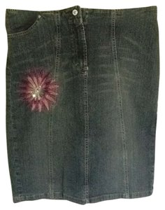 Versace Ce: Fashionably Distressed Look. Skirt Denim