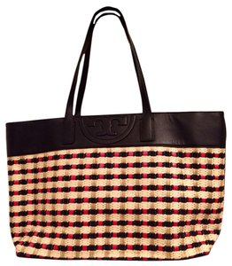 Tory Burch Straw Leather Tote in Navy/Red