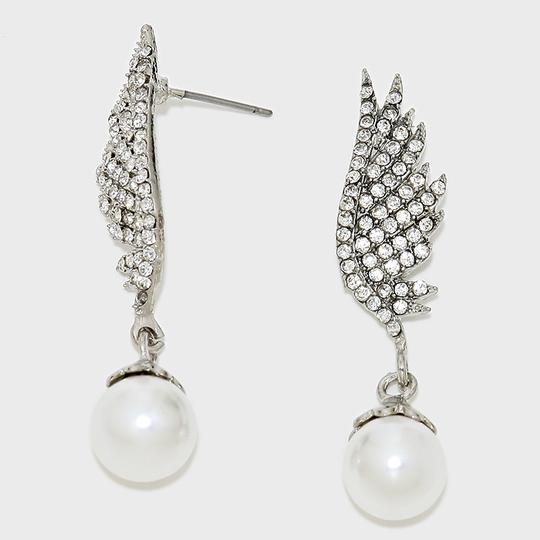 White Rhodium/Silver New Elegant Crystal Accent Cluster and Pearl Drop Evening Earrings