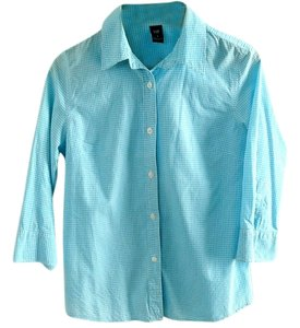 Gap Cotton Checkered Button Down Shirt turquoise-white