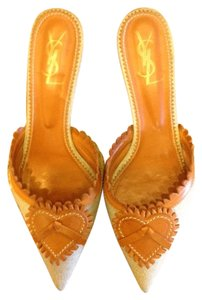 YSL rive gauche Luxury Leather Silk Canvas Grezzo/Rame Mules