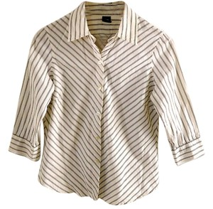 Gap Cotton Striped Button Down Shirt white-black