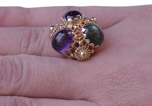 Vintage Vintage 14k Yellow Gold with genuine Garnet, Amethyst, and Jade filigree