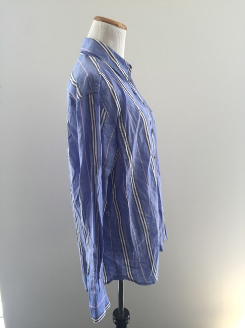 Equipment Stripes Button Down Shirt Blue and White