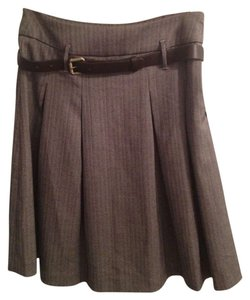 Forever 21 F21 A-line Pleated Full Flared Small Skirt Brown