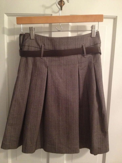 Forever 21 F A-line Pleated Full Flared Small Skirt Brown