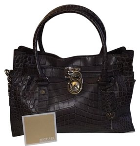 Michael Kors Embossed Leather Gray Taupe Satchel in Slate/Charcoal