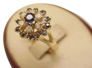 Estate Vintage 14k Yellow Gold 1.25ct Blue Sapphire and Diamond Ring
