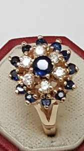 Other Estate Vintage 14k Yellow Gold 1.25ct Blue Sapphire and Diamond Ring