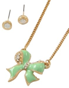 Unknown Fashion Jewelry Small Mint Bow Tie Fashion Necklace Set
