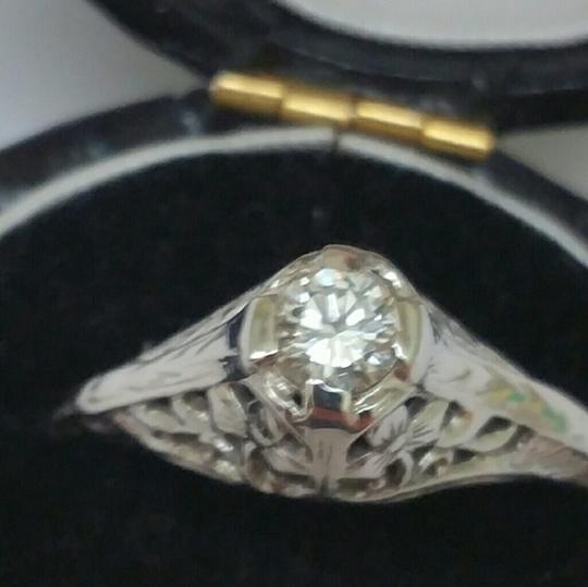 antique Antique 18k gold .30ct VS/G diamond engagement Filigree Ring
