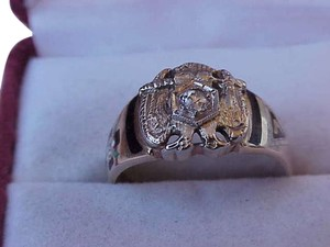 Vintage 14k white gold enameled ring with antique Masonic 32nd degree old cut diamond