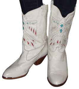Dingo Leather Western Cowgirl Cowboy Laser Cut Bird Eagle Phoenix Red Blue Thunderbird Vintage White Boots