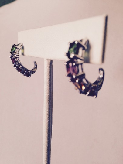 Other Tourmaline Multi-Color In Platinum Earrings, 3.72 Carats