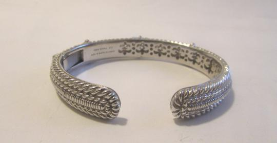 Judith Ripka Judith Ripka .925 Sterling Silver Diamonique Hinged Cuff Bangle Bracelet with Pave Hearts on Front Fits 7 1/2 to 8 Inch Wrist