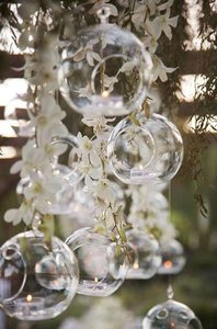 Clear 50 Bubble Candle Holders Free Ship Sale Reception Decoration