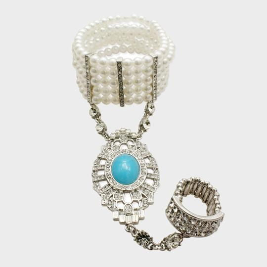 White Turquoise Rhodium/Silver Pearl Hand Chain Tone Crystal Accent Stretchable Bracelets
