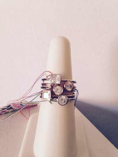 Other Rose & Yellow Gold, Rhodium & Sterling Silver w/ White Topaz Set Of 5, Size 7