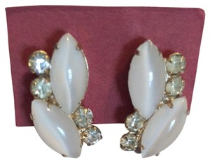 White And Silver Clip-On Earrings