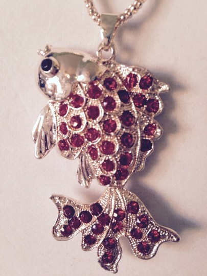 Betsey Johnson Red Crystal Gold-Tone Goldfish Long Necklace