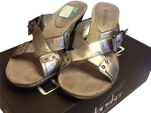 Aerosoles Buckles Leather Heels Slip Ons Silver Sandals